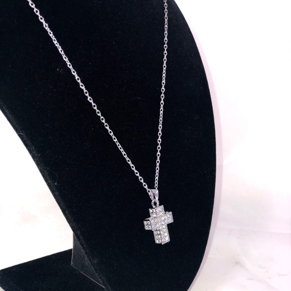Crystal Heart and Pastel Crosses Necklace